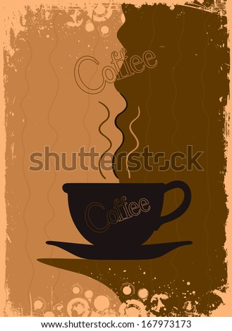 Grungy coffee background. Vector illustration - stock vector