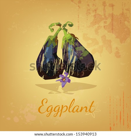 Grungy eggplant on an artistic background - stock vector