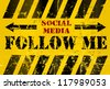 "grungy ""Follow Me"" social media sign or button, industrial style - stock vector"