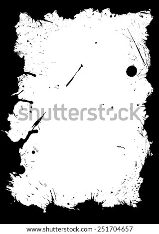 Grungy frame with splashed ink isolated on white. - stock vector