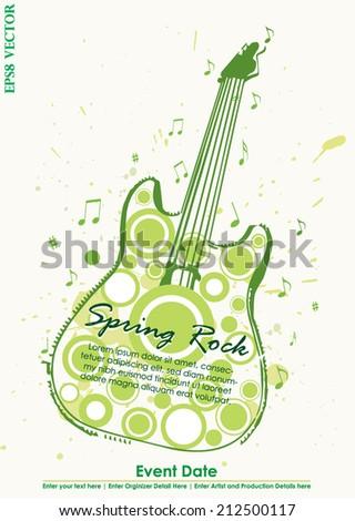 Grungy Guitar Spring Rock Poster Vector - stock vector