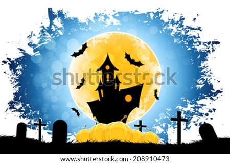 Grungy Halloween Background with Moon, Pumpkins and Haunted House - stock vector