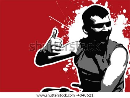 grungy happy vector guy, thumb up - stock vector