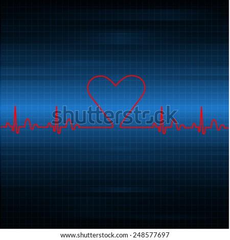 grungy heart beat - stock vector