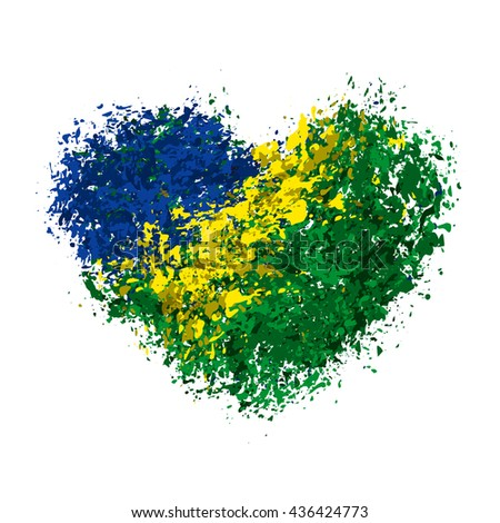 grungy heart with brazilian flag, the colors of the Brazilian flag - stock vector