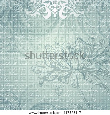 Grungy light blue background with flower - stock vector