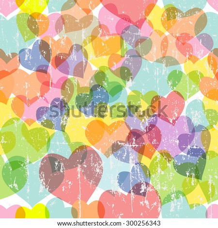 grungy love and heart seamless pattern, fictional artwork,vector illustration - stock vector
