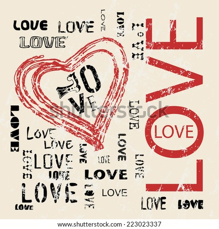 grungy love and heart vector,valentines day - stock vector