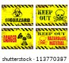Grungy metal sign vector illustrations. Danger and hazard - stock vector