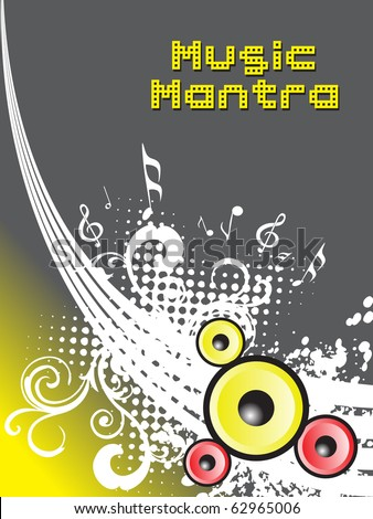 grungy music mantra background, vector illustration - stock vector