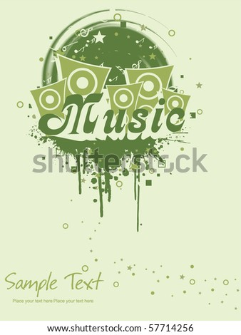 grungy musical background with speaker - stock vector