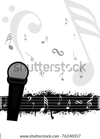 grungy musical note sheet background with isolated mike - stock vector