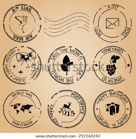 grungy postage stamps - vector - stock vector