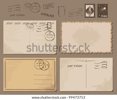 grungy postcards backgrounds - stock vector