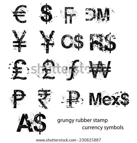 grungy rubber stamp currency sign symbols set, vector. - stock vector