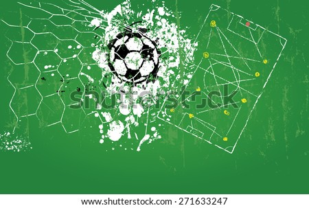 grungy soccer o. football illustration, soccer ball, goal, free copy space - stock vector