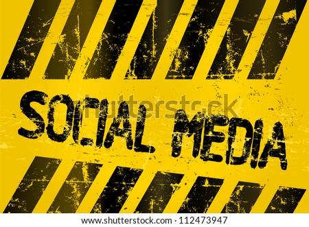 grungy social media sign, w. hazard stripes - stock vector