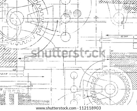 Grungy technical drawing vector illustration of gears and engineering parts - stock vector