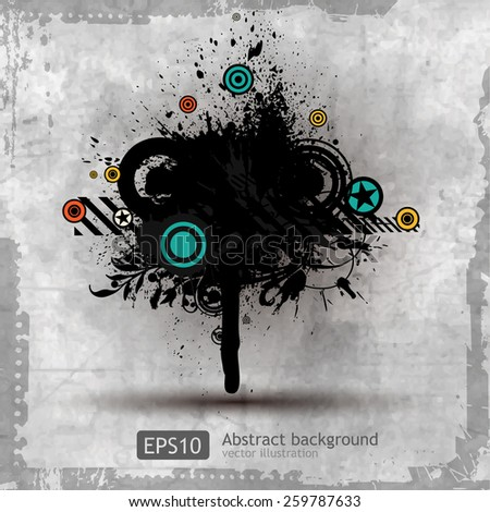 grungy textures and design elements - stock vector