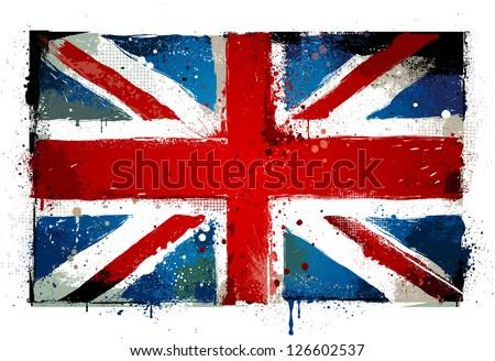 Grungy UK flag. EPS 8 vector illustration. - stock vector