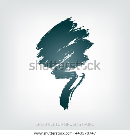 Grungy vector abstract hand-painted brush stroke - stock vector