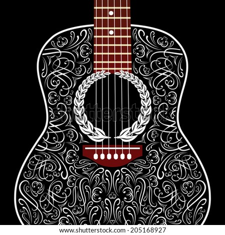 grungy vector background with black acoustic guitar - stock vector