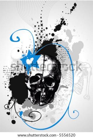 grungy vector skull with swirls - stock vector