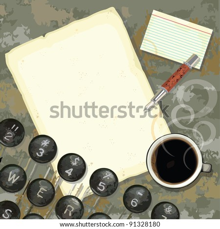 Grungy writers desk with stained paper and notes, coffee, pen and typewriter - stock vector