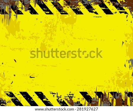 Grungy yellow and black blank metal sign vector illustration - stock vector