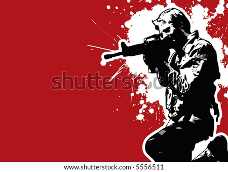 grungy young vector soldier - stock vector