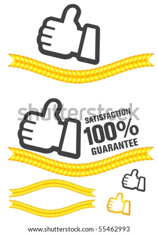 guaranteed label and buttons - stock vector