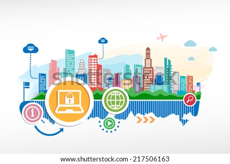Guard shield icon and cityscape background with different icon. Design for the print, advertising. - stock vector
