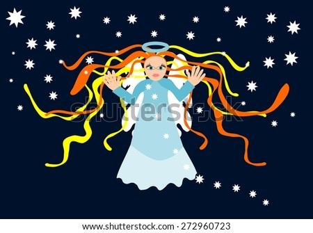 Guardian angel figure on dark black background with stars - stock vector