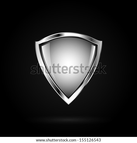 Guardian white shield. Symbol of power and security. - stock vector