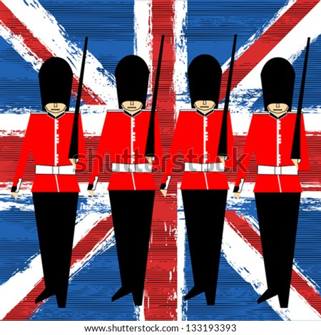 Guardsmen Marching Over A Union Jack vector background for a British Royal Event - stock vector