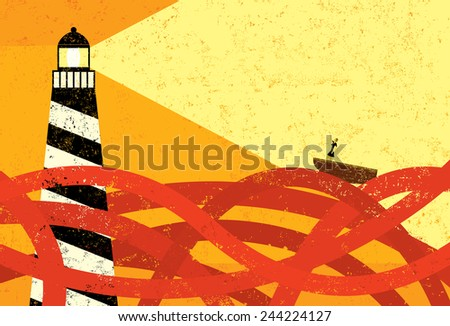 Guidance in a sea of red tape A lighthouse providing guidance to a boat in a sea of red tape. The lighthouse, woman & boat, and the red tape are on a separate labeled layer from the background. - stock vector