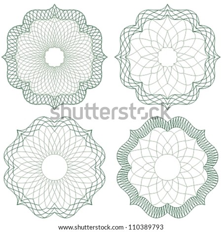 Guilloche elements for certificate or diploma / currency and money design / vector / CMYK color / All lines and colors are easy editable - stock vector