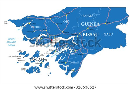 Guinea Bissau map - stock vector