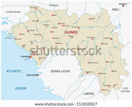 guinea map - stock vector