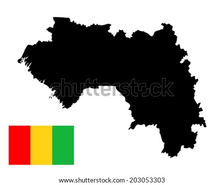 Guinea vector map and vector flag isolated on white background silhouette. High detailed illustration.  - stock vector