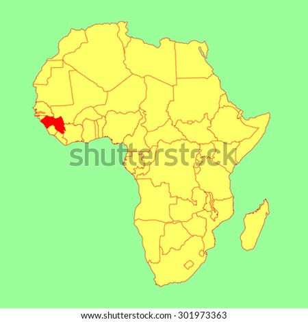 Guinea vector map isolated on Africa map. Editable vector map of Africa.  - stock vector