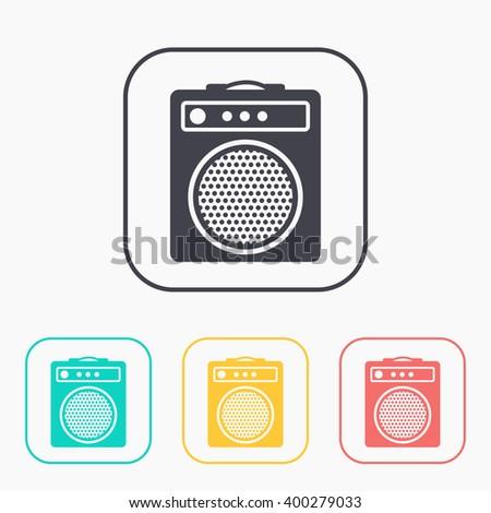 guitar amplifier color icon set  - stock vector