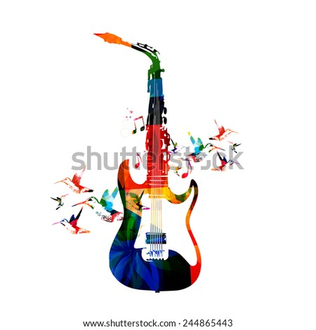Guitar and saxophone design - stock vector