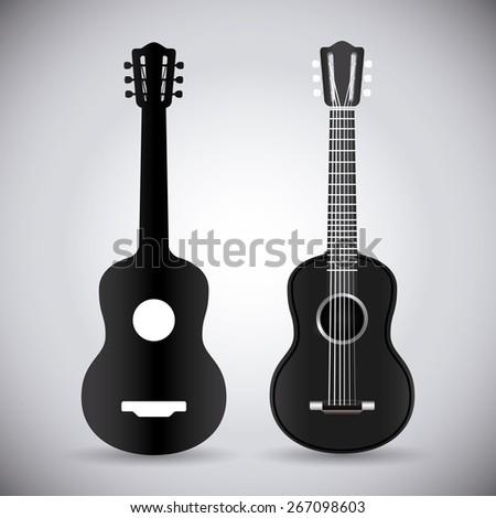 Guitar design over white background, vector illustration. - stock vector