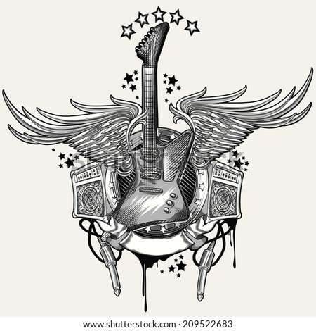 Guitar emblem - stock vector