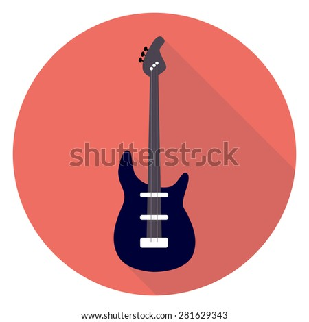 Guitar Flat Circle Icon. Flat Stylized Vector Illustration with Long Shadow. Musical Instrument Flat Stylized. Rock Guitar.  - stock vector