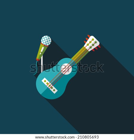 guitar flat icon with long shadow,eps10 - stock vector