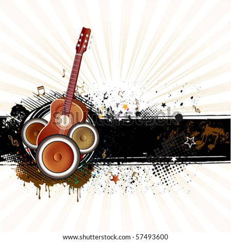 guitar,grunge ink,music background - stock vector