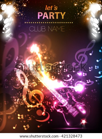 Guitar grunge music party disco club stage easy all editable - stock vector