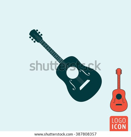 Guitar icon. Guitar logo. Guitar symbol. Classic guitar icon isolated, acoustic guitar minimal design. Vector illustration - stock vector